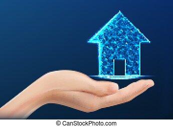 propriété, maison, propriété, tenue, vrai, concept., assurance, business., vecteur, illustration, représenter, maison