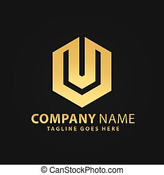 propriété, or, vecteur, hexagonal, compagnie, moderne, vrai, résumé, logos, 3d, conception, illustration