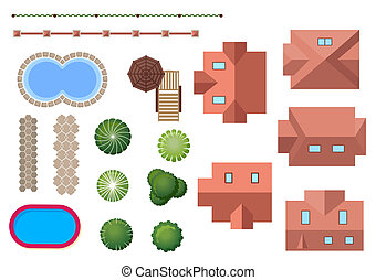 propriété, paysage, éléments, maison