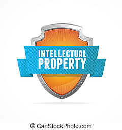 propriété, protéger, blanc, bouclier, intellectuel