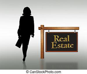 propriété, silhouette, vrai, femme
