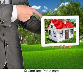 propriété, tablette, maison, écran, agent, utilisation