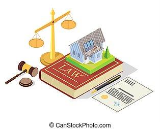 propriété, vecteur, droit & loi, isométrique, illustration, concept, vrai