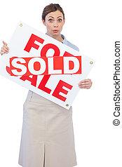 propriété, vente, travers, agent, signe, autocollant, il,...