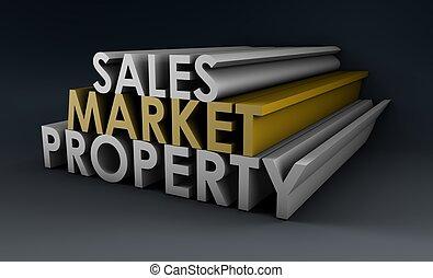 propriété, ventes, marché