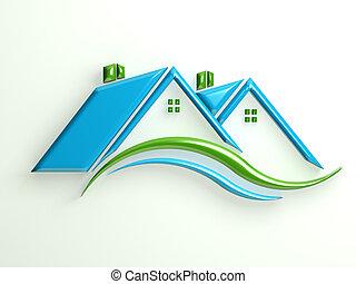 propriété, vrai, shinny, maisons, 3d