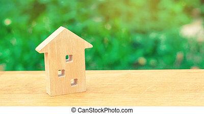propriété, vrai, vente, house., housing., miniature, propriété, bois, loyer, /, texte, appartement, espace, concept., achat, insurance.