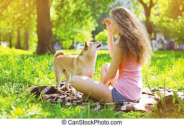 propriétaire, été, parc, chien, heureux