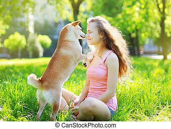 propriétaire, parc, chien