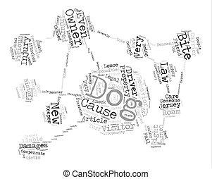propriétaires, concept, mot, texte, prendre garde, chien, fond, nuage
