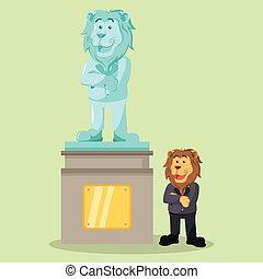 propri affari, orgoglioso, leone, suo, statua