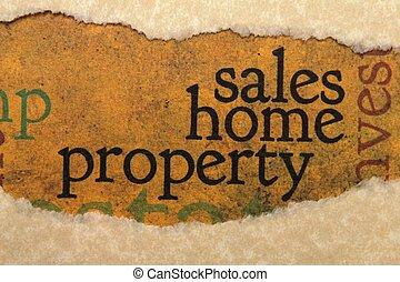 propriedade, lar, conceito, vendas