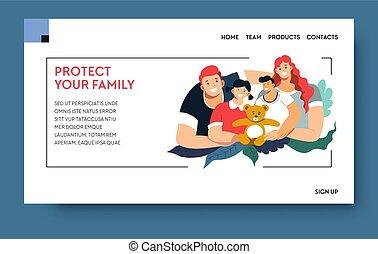 propriedade, seu, proteja, seguro, página web, família, aterragem, saúde