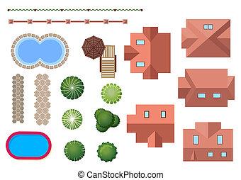 proprietà, paesaggio, elementi, casa