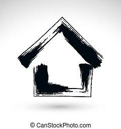 proprietà, semplice, casa, logotype, mano, icona, s, paese, cottage, disegnato