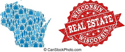 proprietà, wisconsin, collage, reale, sigillo, programma condizione, graffiato, mosaico