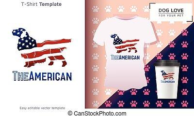 proprietário, engraçado, cão, t-shirt, t-shirt., fresco, americano, gift.