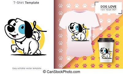 proprietário, engraçado, cão, t-shirt, t-shirt., fresco, animal estimação, agradável, gift.