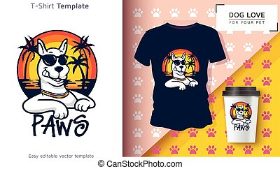 proprietário, engraçado, cão, t-shirt, t-shirt., fresco, animal estimação, gift.