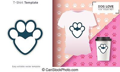 proprietário, engraçado, cão, t-shirt, t-shirt., fresco, pegada, animal estimação, gift.