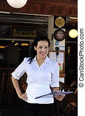 proprietário, feliz, restaurante