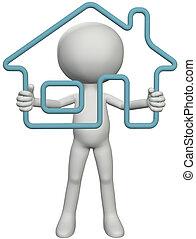 proprietário lar, pessoa, atrasando, 3d, esboço, casa