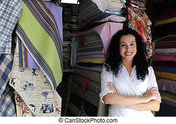 proprietário, tecido, loja, feliz