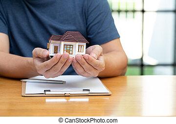 proprietários, refinancing, hipoteca, verificar, casa,...