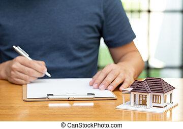 proprietários, selecionado, casa, refinancing