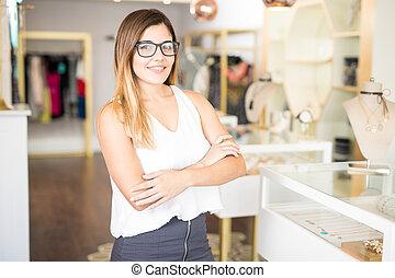 proprietario affari, di, uno, moda, negozio