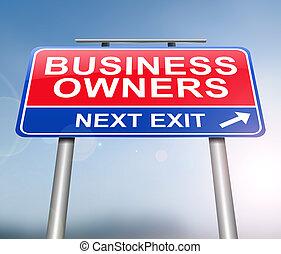 proprietario, concept., affari