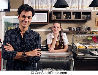 proprietario, di, uno, caffè, e, cameriera