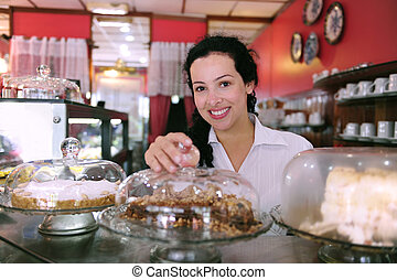 proprietario, di, uno, piccola impresa, negozio, esposizione, lei, saporito, torte