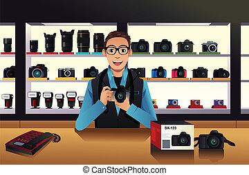 proprietario, macchina fotografica, negozio