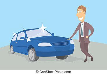proprietario, nuovo, orgoglioso, automobile