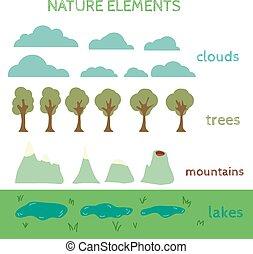 proprio, elements., natura, disegno, costruire, tuo, paesaggio