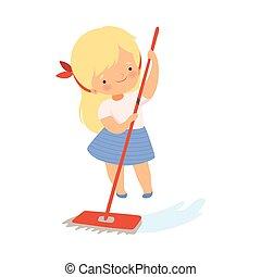 proprio, pulizia, pavimento, vettore, ragazza, mocio, lei, illustrazione, poco