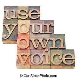 proprio, uso, voce, tuo