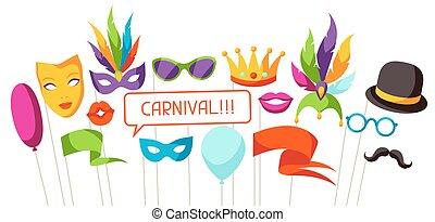 props., cabine, carnaval, photo, festival, accessoires, fête