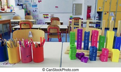 Props on the desk in a classroom at school. - Props on the...