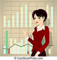 propuesta, mujer, caricatura, empresa / negocio, presentación