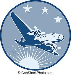 propulsor, vendimia, avión, retro
