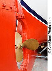 propulsor, y, timón, barco, en, seco, dock.