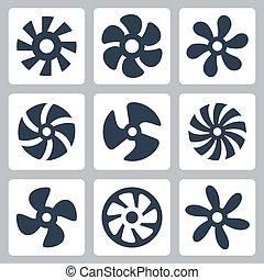 propulsores, vector, ventilador, conjunto, iconos