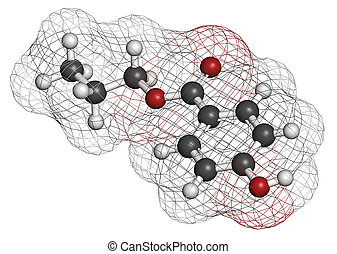 Propyl paraben preservative molecule. Used in food and cosmetics. Atoms are represented as spheres with conventional color coding: hydrogen (white), carbon (grey), oxygen (red).