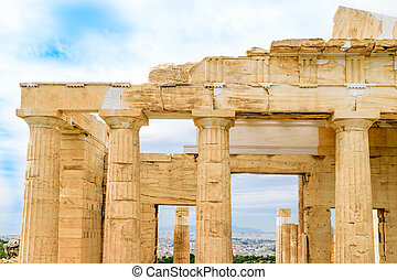 Propylaea monumental gateways to Acropolis in Athens