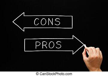 pros, 反対論, 矢, 黒板