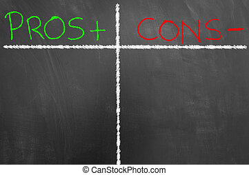 Pros and cons chalk text table on blackboard or chalkboard as advantage disadvantage decision choice list concept with copy space