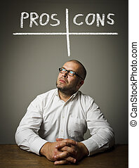 Man in white is thinking. Pros and cons concept.