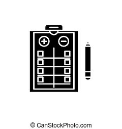 Pros and cons list black icon, vector sign on isolated background. Pros and cons list concept symbol, illustration